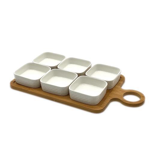 Vassoio in legno con 6 coppette aperitivo ceramica