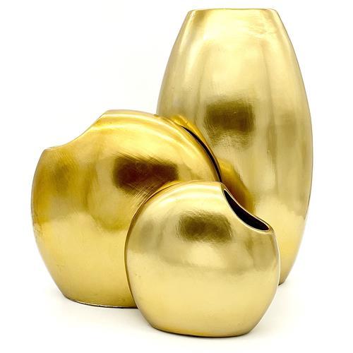 Tris Vaso artigianale in ceramica ORO