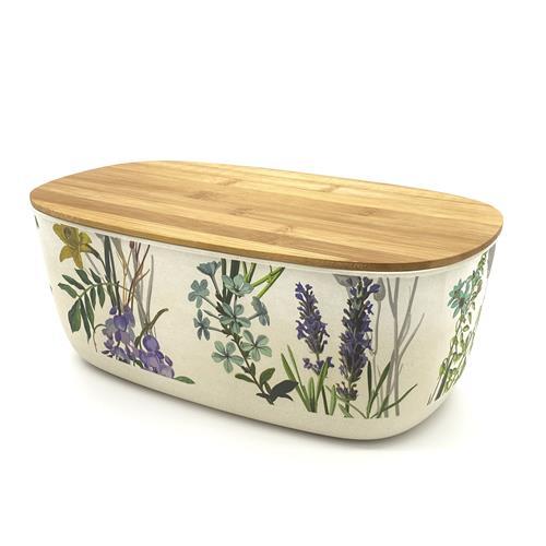 Coppa ovale/porta pane bambù con coperchio in legno